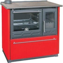Печь плита Plamen 850 GLAS, красная, труба слева