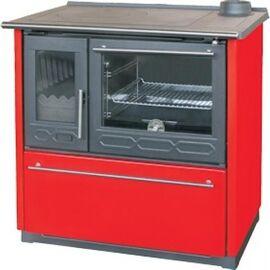 Печь плита Plamen 850 GLAS, красная, труба справа