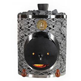 Печь для бани IKI Maxi Plus со стальной дверцей смайл